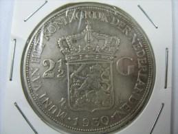 NETHERLANDS NEDERLAND HOLLAND 2.5 GULDEN 0.720 SILVER KM 165 ,1930  WEIGHT 25 GRAMS ,COIN - [ 8] Monnaies D'or Et D'argent