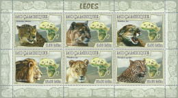 m7118a Mozambique 2007 Lion s/s Michel:3032-3037 Scott:1757 Giraffe Elephant Monkey