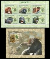 m7119ab Mozambique 2007 Apes Monkey s/s Michel:3065-3061,3066 Scott:1770,1784 Giraffe Elephant