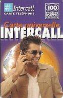 CARTE-PREPAYEE-INTERCALL- 100F-UNIVERSELLE-HOMME TELEPHONANT-V° CODE N°NOIR /FOND BLANC-31/12/2002-T B E-RARE - Altre Schede Prepagate