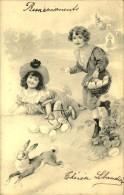 ENFANTS RAMASSANT LES OEUFS DE PAQUES COURANT APRES UN LIEVRE - Before 1900