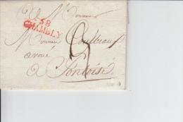 MARQUE POSTALE   LAC   58 CHAMBLY A PONTOISE   1813  CACHET ROUGE - Marcophilie (Lettres)