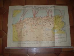 Carte Maritime & Terrestre Compagnie De Navigation Mixte, Compagnie Touache :Port Vendres,Sète,Marseille,Nice,Algérie Tu - Cartes Marines