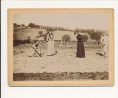 VILLENEUVE SUR LOT 47 -   Environs - Joueuses  De Croquet , Jeu -  Photo  Contrecollée Sur Carton Fort