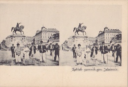 ZGB229  --  CROATIA  ~~  ZAGREB  ---  JELACIC MONUMENT  --  STEREO CARD - Stereoskope - Stereobetrachter