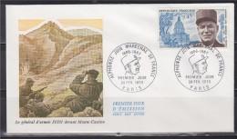 Enveloppe 1er Jour Paris 28 Fev  70 N°1630 Alphonse Juin Maréchal De France Invalides Illustra Juin Devant Monte Cassino - FDC
