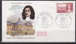 = Enveloppe 1er Jour Paris 14 Fev 70 N°1623 Louis Le Vau Architecte 1612-1670 - Célébrités