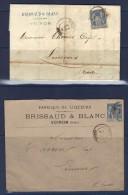 Voiron (Isère) Pour Limoux ((Aude) Enveloppe Et Facture De 1884. Nombreux Cachets Au Verso - 1877-1920: Semi Modern Period