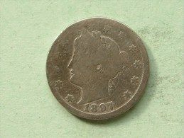 1897 - Five Cents / KM 112 ( Uncleaned - For Grade, Please See Photo ) ! - Émissions Fédérales