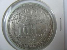 EGYPT 10 PIASTRES 1917 SILVER VERY NICE GRADE . - Egipto