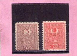 1916 - Timbres TAXE  - Mi No 3/4 Et Yv No 44/45  AUSGABEN - Portomarken