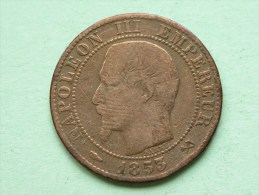 1853 B - 5 Centimes / KM 777.2 ( For Grade, Please See Photo ) !! - France