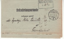 POLAND 1922  OFFICIAL LETTER  SENT FROM  OSTRZESZOW  TO POZNAN - Covers & Documents