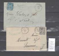 Lettre Cachet Convoyeur Arçay à Poitiers Et Retour - 2  Piéces - Postmark Collection (Covers)