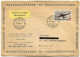 SUISSE ENVELOPPE SPECIALE 25 ANS DE POSTE AERIENNE SUISSE 1919-1944 20 SEPTEMBRE 1944 BERN - GENEVE - Posta Aerea