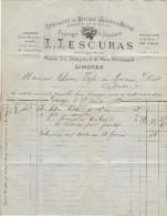 Facture Lescuras Limoges 1883. Bitters Jaunes Et Bruns, Cognacs, Kirsch, Absinthe Et Genièvre ... - Fatture