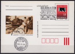 1995 - HUNGARY - 100th Anniv. MOVIE / FILM - LUMIÉRE / LOCOMOTIVE  - STATIONERY - POSTCARD - FDC / MNH - Cinema