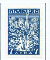 BULGARIA  -  1934  Shipka Pass Memorial  7l  Mounted Mint - Unused Stamps