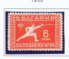 BULGARIA  -  1933  Balkan Games  6l  Mounted Mint - 1909-45 Kingdom