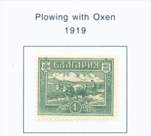 BULGARIA  -  1919  Ploughing  Mounted Mint - 1909-45 Kingdom