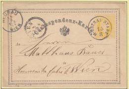 Österreich(V94)Correspondenz-Karte Von 1874Von Mährisch Ostrau Nach Wien - 1850-1918 Imperium