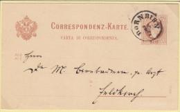 Österreich(V100)Correspondenz-Karte Von 1877 . 2krVon Dornbirn Nach Feldkirch - Storia Postale