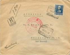 1938  Carta Certificada Per Alemania  Censur Militar San Sebastian  Ed 828 - 1931-50 Cartas
