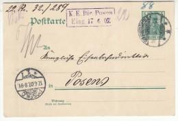 POLAND / GERMAN ANNEXATION 1907  POSTCARD  SENT FROM  CIEPLICE TO POZNAN - ....-1919 Übergangsregierung