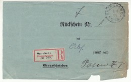 POLAND / GERMAN ANNEXATION 1899 R- LETTER  SENT FROM  ORZECHOWO TO POZNAN - ....-1919 Übergangsregierung