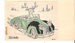Hunters Caught On The Headlights Self Made Pre-stamped Post Card - Humour