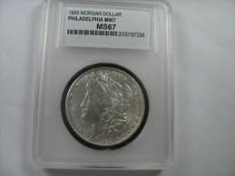 US USA 1 ONE DOLLAR MORGAN COIN SILVER 1889 WCG  MS67 - Émissions Fédérales