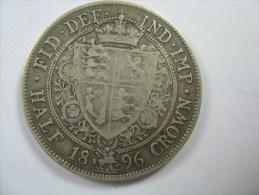 UK GREAT BRITAIN ENGLAND HALF CROWN 1896  SILVER VICTORIA - K. 1/2 Crown