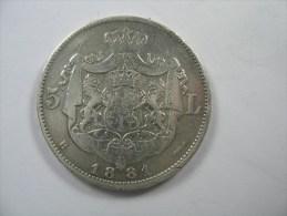 ROMANIA 5  LEI 1881 SILVER  KING CAROL I - Romania