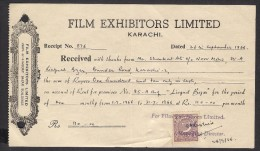 PAKISTAN - Money Receipt Document From Film Exhibitors Limited Karachi With 4 Anna Revenue Stamp 26.9.1966 - Pakistan
