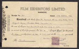 PAKISTAN - Money Receipt Document From Film Exhibitors Limited Karachi With 4 Anna Revenue Stamp 6.10.1966 - Pakistan
