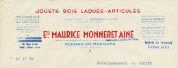 Facture Des Jouets Bois Laqués & Articulés Maurice  Monneret à Moirans-en-Montagne Jura En...1958 - France
