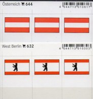2x3 In Farbe Flaggen-Sticker Österreich+Berlin 4€ Kennzeichnung Alben Karten Sammlung LINDNER 632+644 Austria Westberlin - Briefmarken