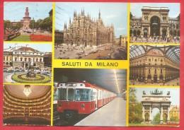 CARTOLINA VG ITALIA - SALUTI DA MILANO - Vedutine - Panorama - 10 X 15 - ANNULLO MILANO 1977 - Saluti Da.../ Gruss Aus...