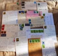 SUPER LOT 70 LETTRES DU JAPON ANNÉES 70- 28 ENTIERS POSTAUX- 10 PAR AVION- 18 AÉROGRAMMES- 17 CARTES POSTALES- 12 SCANS - Japon