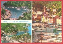 CARTOLINA VG ITALIA - SALUTI DA PORTOFINO - Vedutine - Panorama - 10 X 15 - ANNULLO PORTOFINO 1977 - Saluti Da.../ Gruss Aus...