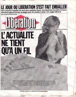 Libération—Journal En Tissu De 1986—Le Jour Où Libération S'est Fait Emballer - 1950 - Heute