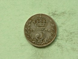 1914 - 3 Pence / KM 813 ( Uncleaned Coin / For Grade, Please See Photo ) !! - 1902-1971 : Post-Victorian Coins