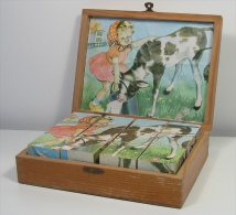 Jeu De 12 Cubes Des Années 60—Complet—Boîte D´origine Et Modèles Papier - Antikspielzeug