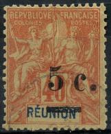 Reunion (1901) N 52a.B (o) Sans Trait Sur L'ancienne Valeur - Used Stamps