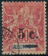 Reunion (1901) N 53a.B (o) Sans Trait Sur L'ancienne Valeur - Used Stamps