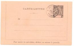 BENIN - 1895 - RARE CARTE LETTRE ENTIER POSTAL TYPE GROUPE 25 Cts, - Benin (1892-1894)