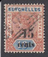 Seychelles 1893  15c On 16c  SG18  Used - Seychelles (...-1976)