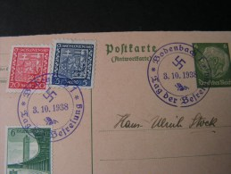 == CSR Cv, 1938  German Franking ?  Hitler Time Bodenbach Decin  Antwort Karte !! - Böhmen Und Mähren