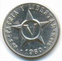 CUBA , 5 CENTAVOS 1960 AUNC - Cuba