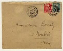 "Oblitération Gare T04  -  "" TARBES-GARE /  HAUTES-PYRENEES  /  21.10.1948 ""  -  Pothion N° 1173 Sur YT 721A + 807 - Correo Ferroviario"